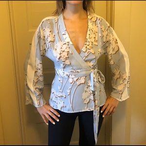 Light Blue Kimono wrap shirt